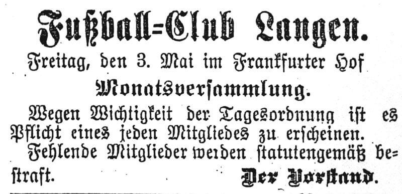 Zeitungsartikel FC Langen 03. Mai 1901