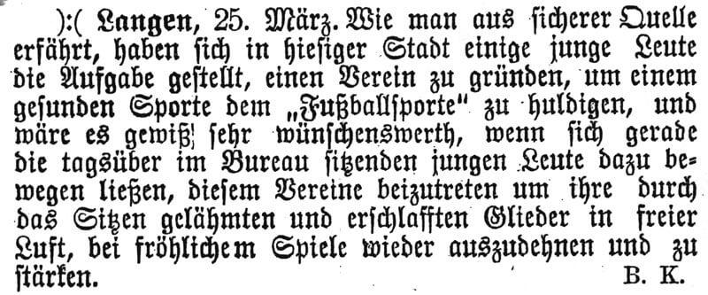 Zeitungsartikel FC Langen 25. März 1901