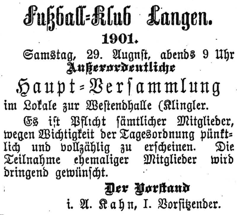 Zeitungsartikel FC Langen 29. August 1901