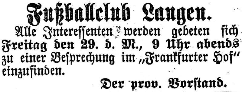 Zeitungsartikel FC Langen 29. März 1901