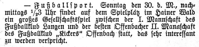 Zeitungsartikel FC Langen 30. August 1901